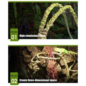 Colapsable reptil vides decoración del hogar artificial simulado Rattan lagarto verde Plantas Suministros Reptile Jungle Climber