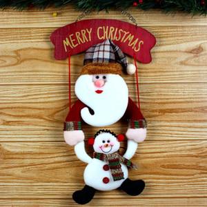 Blanc Décoration de Noël 1pc 38 * 19cm de guirlande de Noël bonhomme de neige Flanelle Accrochez le décor de Noël Porte enfeite De Porta @ GH
