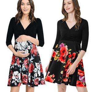 2.020 Feminino Mulheres Maternidade Props Impresso Enfermagem grávida Amamentação manga comprida Floral traje vestido