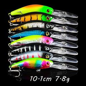 8 Color Mixed Minnow Plastic Hard Baits & Lures 10.1CM 7.8G 6# Hook Fishing Hooks Pesca Fishing Tackle BLU_198