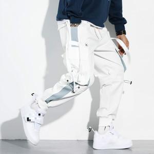 MarchWind para hombre Pantalones de Carga Hip Hop Bolsillos Joggers Streetwear hombres ocasionales de los pantalones de las cintas de remiendo ropa del otoño del resorte nuevos pantalones sueltos