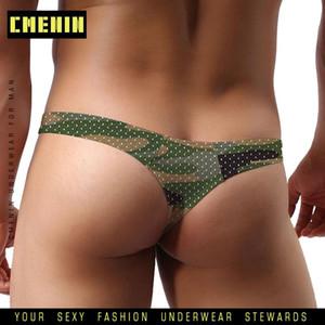 Camuflagem malha Gay Men Underwear Jockstrap Thongs homens Thongs e G Cordas respirável Sissy Panties Underpant Lingerie