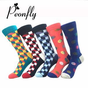Мужские Носки Мода Смешно Красочные Длинные Носки Гребень Хлопка Счастливые Свадебные Носки Повседневная Бизнес Платье Носок 2 шт. = 1 пар