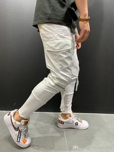 Masculina del basculador de la cremallera de los pantalones de diseño de bolsillo de los pantalones del lápiz de color sólido para hombre Pantalones