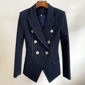 HIGH QUALITY 2020 Designer Blazer Women's Double Breasted Shell Buttons Contrast Top stitching Casual Blazer Jacket