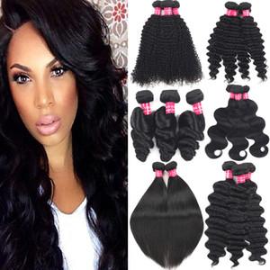 Brasiliani Virgin Hair Allent Wave 100% non trasformato i capelli remy bundles a buon mercato Brasiliano Onda sciolta Onda di Estensione dei Capelli Umani Tessuti Doppia trama
