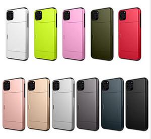 Pour iPhone 11 concepteur de cas pro max carte de cas de diapositives téléphone Emplacement pour iPhone 11 11Pro couverture combinaison TPU + PC pour Samsung huawei