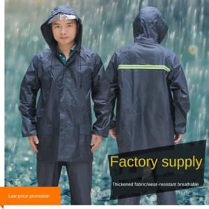 tamanho grande ciano ao ar livre montanhismo protecção laboral chuva engrenagem engrenagem da chuva de camada única capa de chuva e dos homens adultos rainpants terno