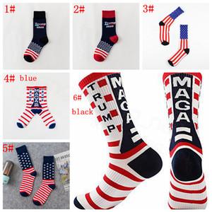 Trump 2020 Middle Stars américaines Planche à roulettes Chaussettes Stripped hiphop sport chaussette Chaussette de coton unisexe chaussettes partie cadeau de faveur FFA3434