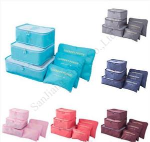 Storage Bag 6 Pieces Define zíper duplo Protable viagem de roupas sacos de roupa Bagagem Diversos organizer pacote cor sólida Bags Hot E11304
