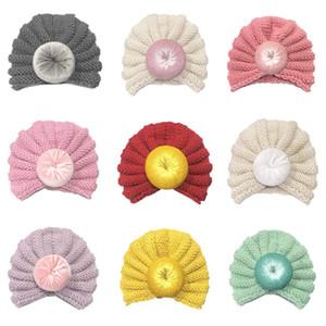 10 Farben-Kleinkind-Kind-Kind-Baby-Mädchen Knitting Hut-Baby Winter warm Solid Color Turban Velvet Caps Zubehör