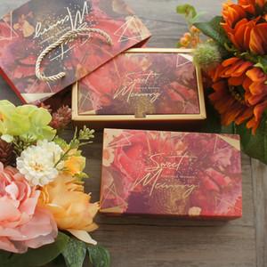 Altın Red Flower Sweet Memories Tasarım Kağıt Kutu + Çanta As Doğum Düğün Hediye kullanın Packaging 3set 18. * 4.7cm