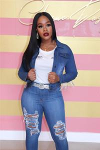 Bayan Jeans Ceket Delikler ve Püskül Dekorasyon Moda Denim Ceket Yüksek Kalite Sokak Stilleri Coats