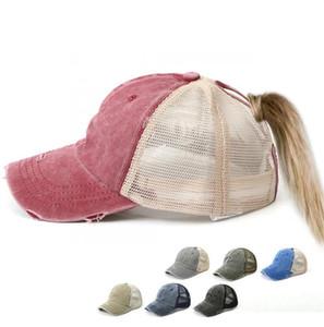Твердая Бейсболка Регулируемая Denim Проблемные Trucker Snapback хвостик Hat Зонт моющийся Hat колпачок 7 цветов LJJK2033-1