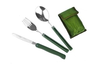 Portable Outdoor Camping Kitche Cutlery Folding Knife Fork Spoon Three Piece Set Dishware Picnic Hiking Convenient Tableware SN