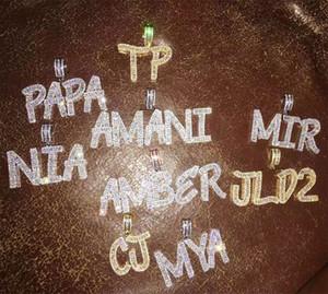 14K personnalisés collier pendentif Lettre Baguette Combinaison lettres Nom Pendentif Tennis Colliers zircons Hiphop Bijoux