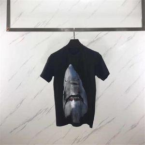 New Mens Women Designer T Shirt Luxury Short Sleeve 3D Animal Shark Print T Shirt Women Camisa Masculina Designer T Shirt S-XXL