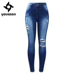 2171 Youaxon Yeni Klasik Patchwork Genişletilmiş Kadın Sıkı Kadınlar Için Denim Pantolon Pantolon Yırtık Kalem Skinny Jeans C19041801