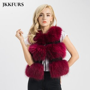 2019 New Arrivals Real Fur Vest Women Genuine Raccoon Fur Gilet Waistcoat Winter Fashion Thick Warm 3 Rows Vest S1150SJ