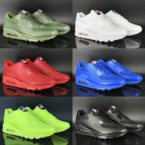 2019 Cojín clásico EE.UU. Día de la bandera Fluorescencia Green Hyperfus Running Shoes Top Calidad Mujeres Hombres Zapatillas deportivas Zapatos Tamaño 36-46