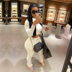 Sleeve 2pcs Women Sets Casual Skinny Ladies Sports Suits Reset 2020 Womens Stacked Tracksuits Solid Color High Neck Long