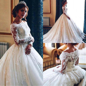 Vintage Arabic Ivory Full Lace Wedding Dresses 2019 Off Shoulders Sheer Long Sleeves Ball Gown Tulle Bridal Gowns with Button Covered BC1974