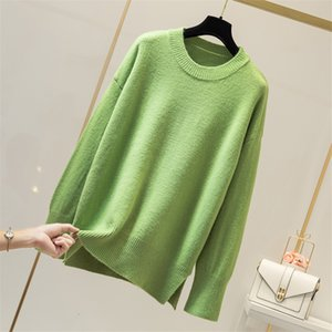 Soft Pull Femme O-Neck Solid Loose Jumper Knitted Sweater Pullover Long Sleeve Fashion Sueter Mujer Women Winter New 2019