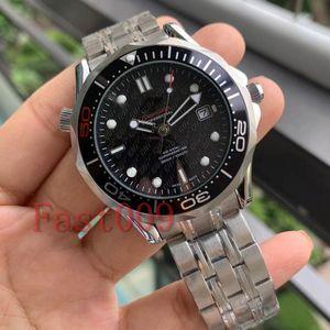 Mens-mechanischer Professionelle 300 m James Bond 007 Zifferblatt schwarz Sapphire automatische Uhr Herren Uhren Selbst Wind Uhren Armbanduhr