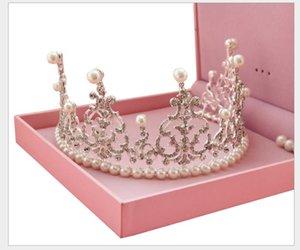 Big Korean Marriage Pearl Diamond Crown Headwear Accessori da sposa per la sposa