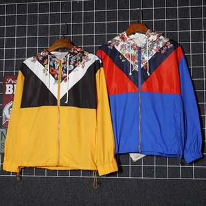 Mens de la marca de lujo rompevientos mujeres camiseta de la cremallera con capucha para hombre de lujo chaquetas de manga larga de vestir exteriores de las mujeres chaquetas con capucha de B103427L
