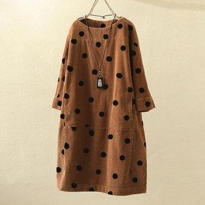 Artı boyutu 5XL Kadife Elbise Moda Kadınlar O-Yaka Uzun Kollu Dot Baskılı Gevşek Günlük Elbise Kış Elbise vestido inverno @ 40 Y200102