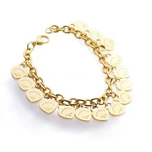 Bracelet en acier au titane de haute qualité tendance en or 18K bracelet en forme de coeur en argent rose pour amis fête et cadeau de couple de mode