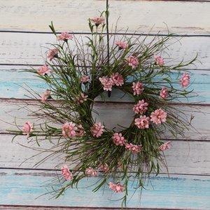 "18""Artificial Flower Beautiful Seasonal Wreath Wildflower Wreath Floral Garland Farmhouse Door Decor"