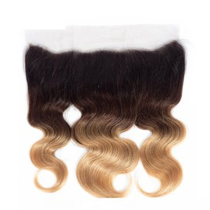 D 13x4 Ear To Ear Lace Frontal Body Wave Ombre 1b 4 27 Color Human Hair Closure With Baby Hair