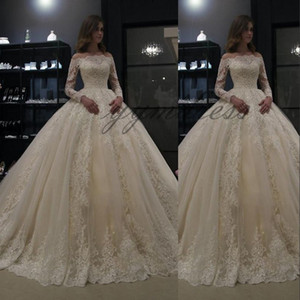 luxury Wedding Dresses 2019 Off Shoulder Illusion Full Sleeves Lace Appliques Floor Length Plus Size Formal Bridal Gown