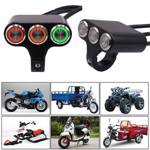 """Motorrad 7/8 """"Dreistellungs-Lenkerschalter Aluminiumlegierung Selbstsichernde Selbstrückstelltaste EIN AUS Startschalter LED-Beleuchtungssatz"""