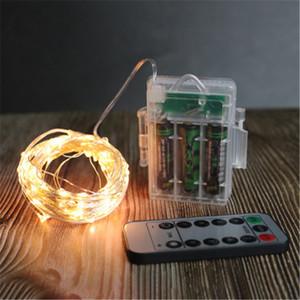 5/10 / 20M Argent Cuivre Fil Guirlande LED Lumière Fée Guirlande Lampe décorative de Noël avec 8 modes piles de la télécommande Powered
