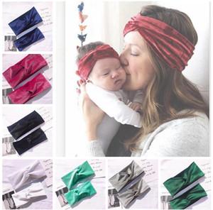 Maman Baby Bandeau Set Girl Velvet Bandeau Bandeau Mère Fille Headwrap Famille Bande Cheveux Twisted Cheveux Accessoires Bandage Trend