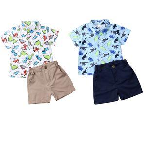 1-6T Малыш Kid Baby Boy Одежда Динозавр печатных короткий рукав рубашки Tops + шорты 2pcs Формальное Набор летних Эпикировка
