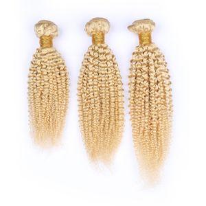 """El cabello humano peruano de la Virgen Rubia Kinky Paquetes rizados de la armadura 3Pcs Lot # 613 Blonde Remy Virgin Extensiones de doble trama del cabello humano 10-30 """""""