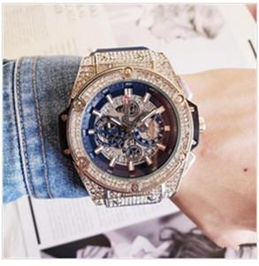 3AAA Мужская мода Большой циферблат Кварцевые часы Роскошные мужские Полностью функциональные кварцевые стразы с бриллиантами Инкрустация часов Кварцевые часы
