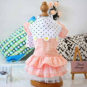 개 드레스 애완 동물 개 옷 버블 스커트 자수 사랑스러운 봄과 가을 꽃 의류 패션 인기있는 18mz Uu