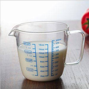 Heat-resistant Borosilicate Glass Measuring Cup with Scale,Easy Measure Liquid Powder Milk Cups,Children's Microwave Milk Cup Mug