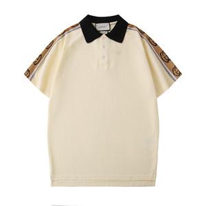 Italia T shirt di lusso della molla del progettista del Mens magliette di polo High Street manica corta classica a strisce Piccolo stampa Polo