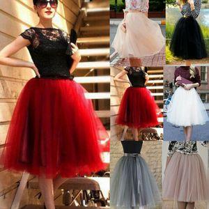 الأزياء مرونة عالية الخصر تنحنح شبكة مطوي تول توتو تنورة المرأة الربيع السيدات حزب الرقص منتصف العجل الركبة تنورة الملابس