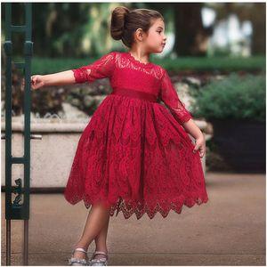 Девушки дизайнер платье Lace платье принцессы для детей Bow Пять пунктов рукава юбка British Style New Fashion Style горячий продавать для детей