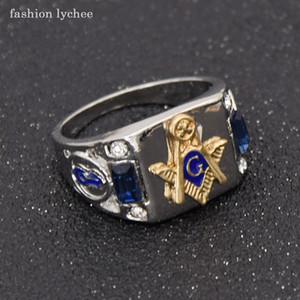 moda litchi massone di cristallo blu Uomini Anello punk di stile massonico moda motociclista degli anelli di barretta regalo