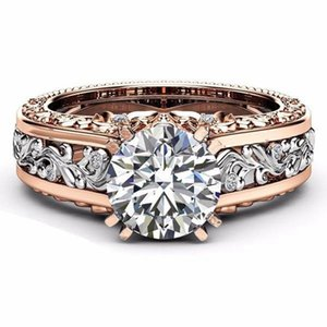 Elegant Rose Gold Pattern Hollow Copper Zircon Ring Valentine's Day Gift for Women - 6 color for choose