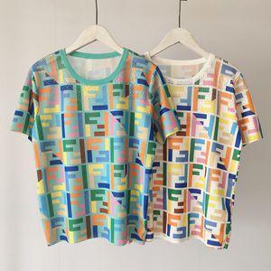 High Fashion Women Shirts Summer Fashion Tshirts For Ladies Knit T-shirts Casual Top Tees Letter Girls Short Sleeve Shirt free shipping