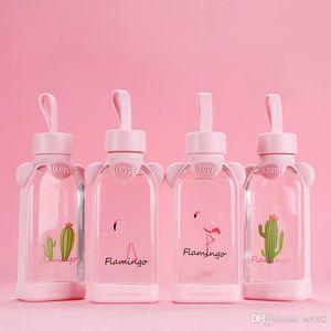 Garrafa Flamingo Praça Cup rosa água de vidro menina Originalidade Seal Love de Tumbler presente Leak Prevention bonito 7 3btb1E1